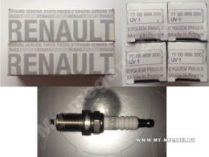 оригинальные свечи зажигания Renault, каталожный номер - 77 00 869 200