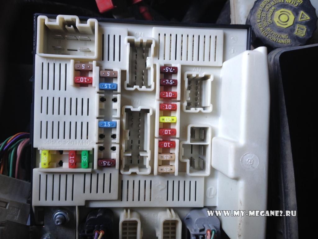 Рено меган 2 схема предохранителей под капотом