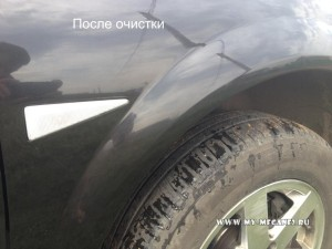 Очистка кузова от битумных пятен на Рено Меган 2