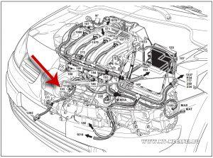 Расположение генератора на автомобиле Рено Меган 2