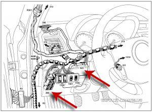Расположение блока предохранителей и реле салона (260) – ЦЭКБС (645) на автомобиле Рено Меган 2