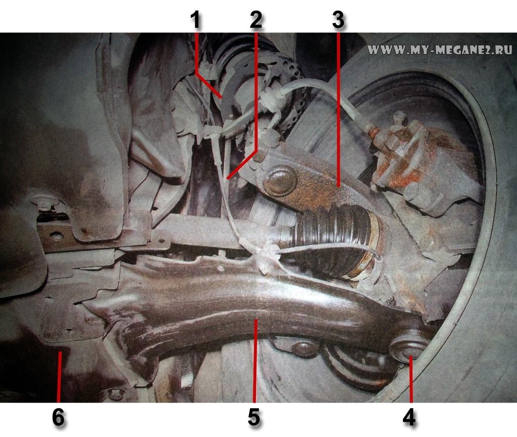 Схема передней подвески меган 2